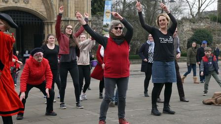The Multicultural Women's Group of Bury St Edmunds who are supporting One Billion Rising.