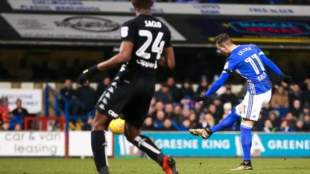 Bersant Celina fires Ipswich Town into the lead with a 25-yard wonder strike in the second half. Pic