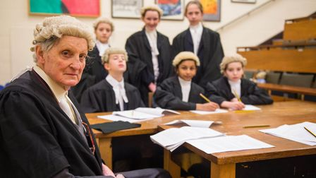 Lord Marlesford in character as a judge in The Trial of Paris play with Woodbridge School pupils. Pi
