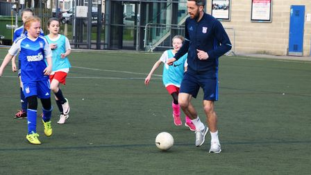 Ipswich Town player Cole Skuse taking part during an SSE Wildcats session at Portman Road. Picture: