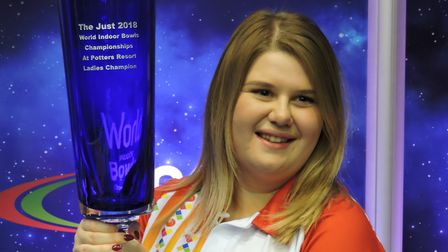 Katherine Rednall with the Langham Glass trophy. Picture: David Rhys Jones
