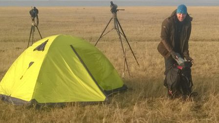 Richard Cuthbert on the steppes of northern Kazakhstan during an international expedition to survey
