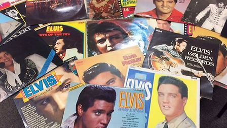 The collection of Elvis Presley records donated by members of the public. Picture: ESSEX POLICE