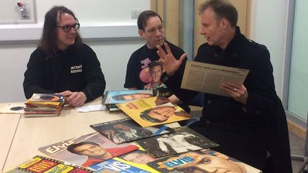 From left to right: Denholm Ellis, John Tayler and Dave Harley with records donated by the public, a