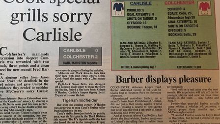 How the EADT reported on the U's 2-0 win at Carlisle, from 25 years ago, in March, 1993