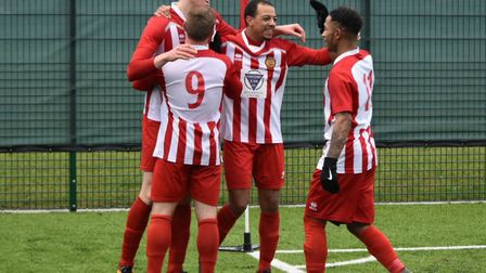 Stowmarket enjoy another Josh Mayhew strike in their big win at Haverhill Borough. Picture: DAVE WAL