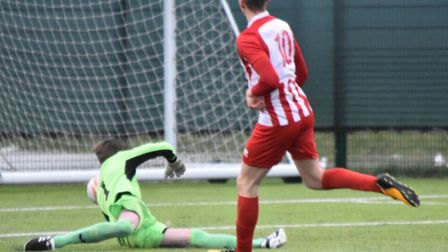 Josh Mayhew took his tally to 42 goals for the season as Stowmarket thrashed Haverhill Borough. Pict