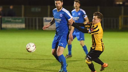 Jack Ainsley, left, missed a penalty for Leiston in their defeat at Merstham. Picture: ARCHANT