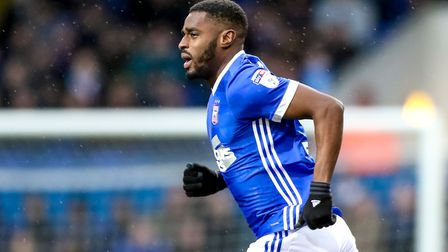 Mustapha Carayol takes to the pitch as he comes on as a substitute. Picture: STEVE WALLER