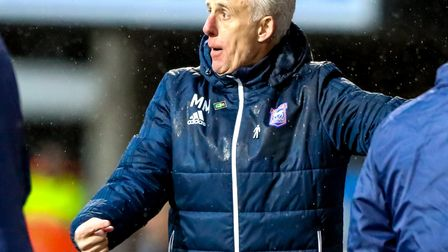 Mick McCarthy on the sideline during the Burton game. Picture: STEVE WALLER