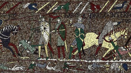 The scene in the mosaic showing King Harold Godwinson being shot in the Eye: Picture: MICHAEL LINTON