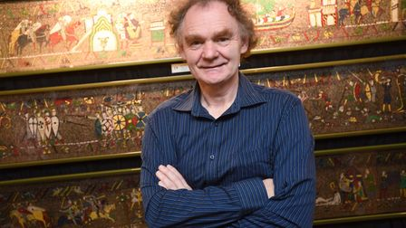 Michael Linton pictured with his Medieval Mosaic. Picture: GREGG BROWN