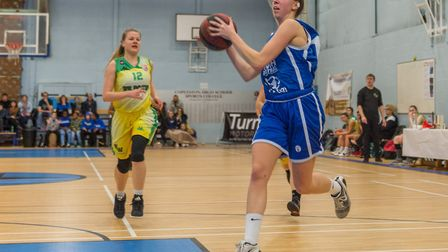 Danni Cazey finshes off the fast break with a layup for Ipswich. Picture: PAVEL KRICKA