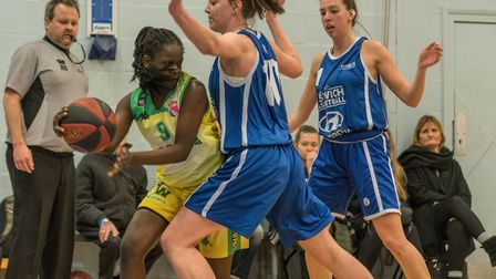 Ipswich's Maya Price and Danni Cazey apply the pressure on the full court press. Picture: PAVEL KRIC