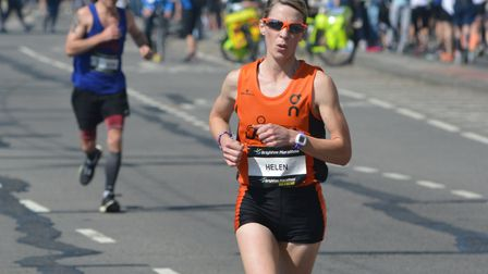 Helen Davies on her way to victory (first lady) at last year's Brighton Marathon. She will defend he