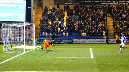 Junior Ogedi-Uzokwe beats City keeper Lee Burge, from the penalty spot, to give the U's a 1-0 lead.
