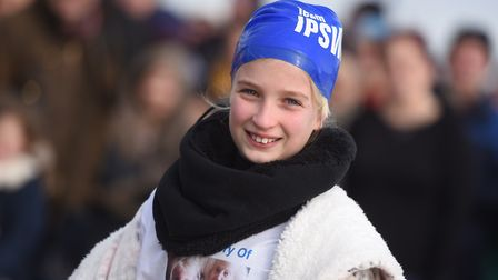 Ellie Kirk, 10, is doing a Valentine's Day Dip in the North Sea off Felixstowe. Picture: GREGG BROWN