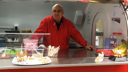 Bill Birkett on his waffle stall at Ipswich market. Picture: PAUL GEATER
