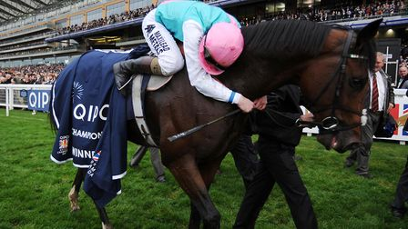 Frankel, pictured after winning the Qipco Champion Stakes at Ascot Racecourse in 2012, has turned 10