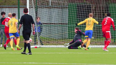 The Jockeys take an early lead as Jamie Thurlbourne's free kick goes in -off the post. Picture: ST