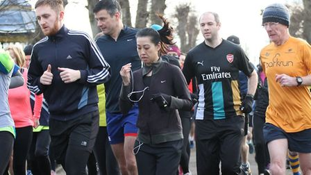 Runners get into the stride at the 257th staging of the Colchester Castle parkrun on Saturday. Some