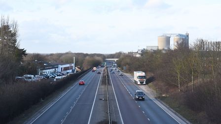 """The A14 near Bury St Edmunds is crumbling away and has been described as """"not fit for purpose"""". Pict"""