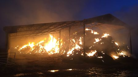 The barn on fire on Alderton Road in Shottisham. Picture: MARK ELEY/SUFFOLK FIRE AND RESCUE