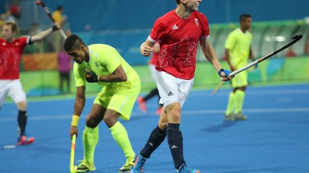 Harry Martin celebrates scoring for Great Britain during the Rio Olympics in 2016. Picture: PA SPORT