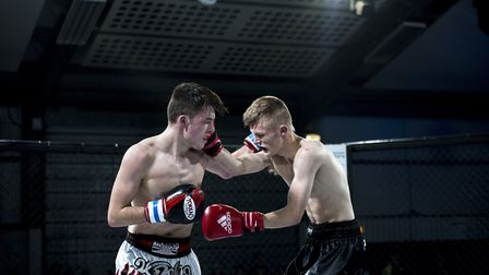 Jack Purdy, right, beat Jake Catterall in a thrilling fight at Contenders 20. Pictures: MATYAS PAUL