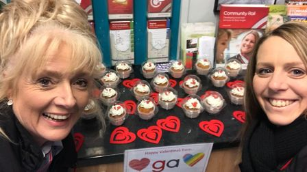 Joni Swain and Dawn Chapman from Diss station during Greater Anglia's Valentine's Day cupcake giveaw