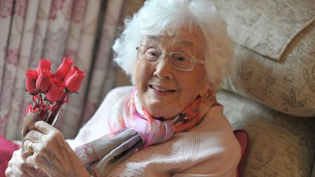 Joan Proud with some Valentine's roses. Picture: SARAH LUCY BROWN