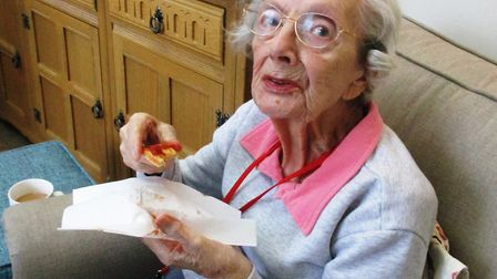 Resident Hilda Dalley took part in the pizza cookery workshop. Picture: RMBI CARE CO.