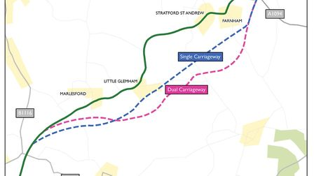 Options for the Four Villages Bypass on the A12 Suffolk Energy Gateway route. Picture: SUFFOLK COUNT