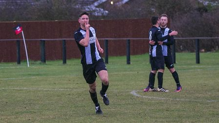 Mark Ray celebrates after scoring for Woodbridge Town against Bramford United. Picture: PAUL LEECH