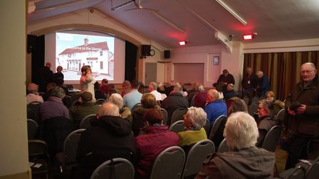 Wickham Market villagers attend a meeting about The George. Picture: GEORGE HERING