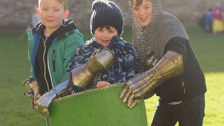 Ellis, Jude and Dylan dressed up as Knights. Picture: SARAH LUCY BROWN