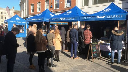 During the fine weather there were queues for some of the stalls in Queen Street at lunch time on Th