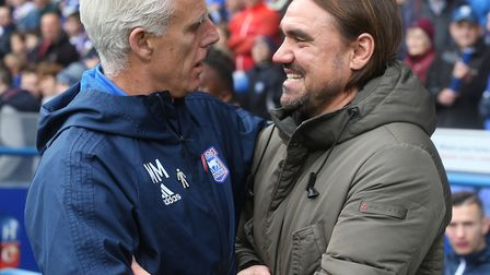 Ipswich Town manager Mick McCarthy, pictured with Norwich boss Daniel Farke in October, has yet to w