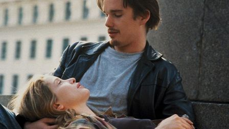 Ethan Hawke and Julie Delpy as Jesse and Celine talk their way into a romance in Before Sunrise, the