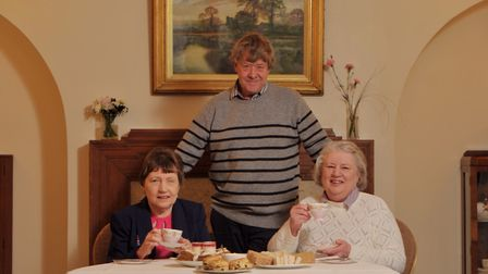 Owner of Prested Hall, Mike Carter, with sisters Barbara Gilhooly and Vivienne Joyce. Picture: SARA