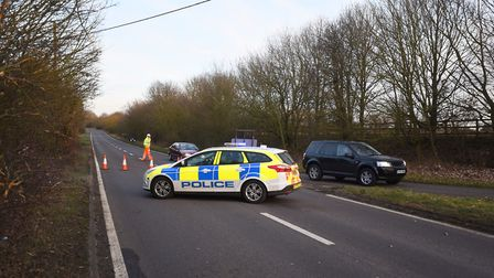 Emergency servives have attended a two-vehicle collision on the A1071 near Boxford. Picture: GREGG B