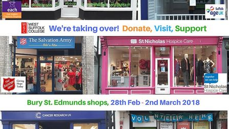 Montage of charity shop fronts in Bury St Edmunds where West Suffolk students will be working