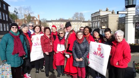 Members of the Multicultural Women's Group of Bury St Edmunds with Mayor and Mayoress of St Edmundsb