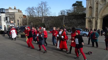 Part of the One Billion Rising event on Angel Hill, in Bury St Edmunds