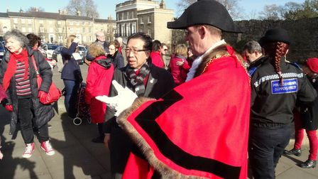 Mayor of St Edmundsbury Terry Clements with councillor Patrick Chung on Angel Hill.