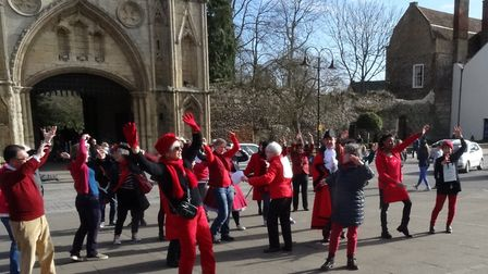 Members of the Multicultural Women�s Group taking part in a demonstration on Angel Hill in support o