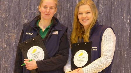 Easton and Otley College students Laura Marsh (left) and Ava Prenticeat an international cattle and