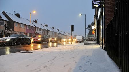 The streets of Ipswich covered in snow after being hit by the Beast from the East. Picture: SARAH LU