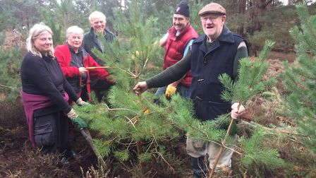 Voluntary warden of Blaxhall Common Terry Peake, right, with volunteers at the Butterfly Conservatio
