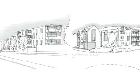 An artist's impression of the plans for 55 apartments on the corner of Risbygate Street and Parkway